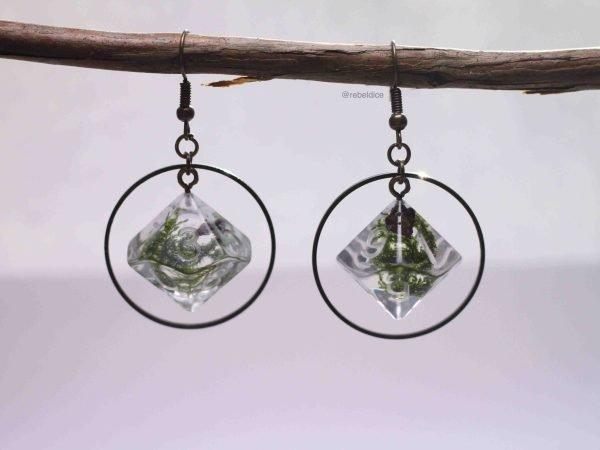Irish Glen D10 handmade hoop dice earrings