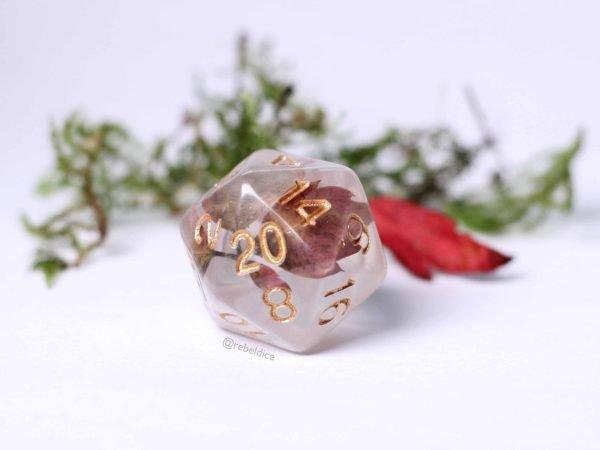 Autumn leaves D20 handmade dice